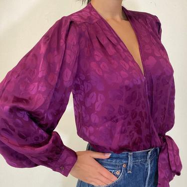 90s silk charmeuse wrap puff sleeve blouse  / vintage violet silk jacquard floral tie wrap front blouse | M L by RecapVintageStudio