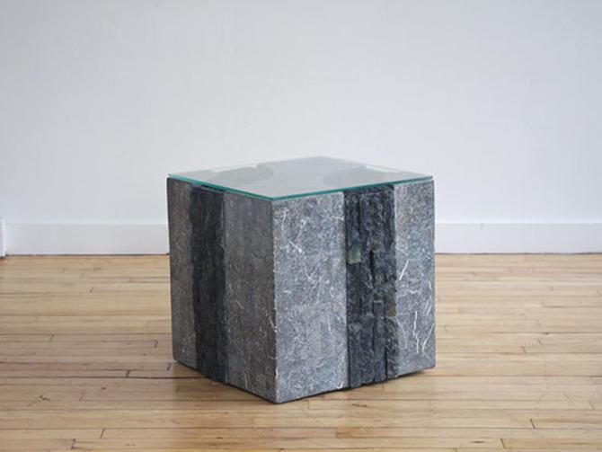 Maitland Smith Brutalist Tessellated Stone Side Table
