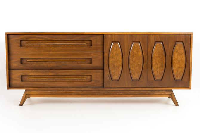 Young Manufacturing Mid Century Walnut Lowboy Dresser Credenza - mcm by ModernHill