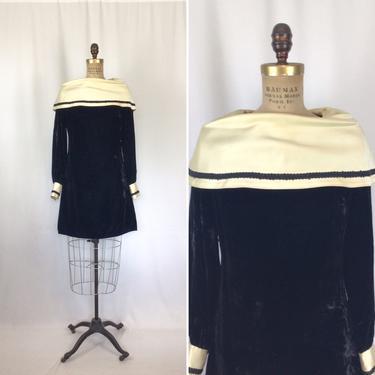 Vintage 60s dress | Vintage black velvet mod dress | 1960s California Charmer mini dress by BeeandMason