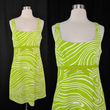 Vintage Y2K Geary Roark Kamisato Mod Revival Neon Green Swirl Dress - 2000 Size 10 Sleeveless Shift Mini Dress by JanetandJaneVintage