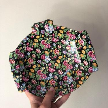 Vintage Royal Winton Chintz, Esther black floral chintz, oval dish with handles on pedestal by ShopTheHyphenate