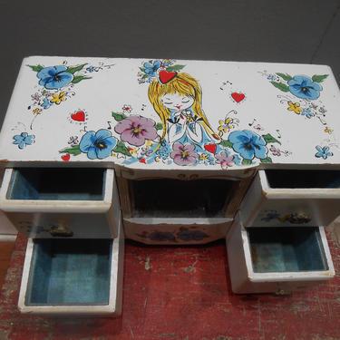 Vintage Hand Painted Jewelry Box 1960s Big Eye Girl Teen Tween Jewel Storage Teenager Bedroom Vanity Decor Wood Wooden Chest Floral Flowers by kissmyattvintage