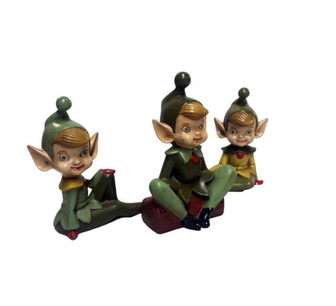 Vintage Ceramic Elves 3 Vintage Pixie Elf Woodland