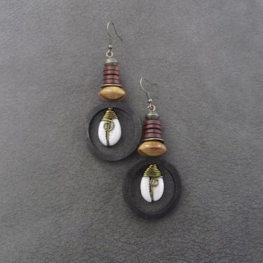Cowrie shell earrings, wooden hoop earrings, African jewelry, Afrocentric earrings, seashell, chunky earrings, exotic ethnic earrings spiral by Afrocasian