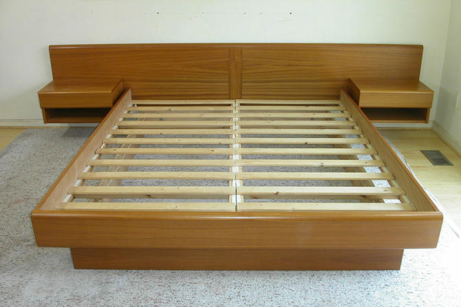 King Size Teak Platform / Floating Bed With Attached Nightstands by Jesper, Mid-Century, Denmark, MCM, Bedroom - CALL Chris 571 330 0810 by RetroSquad