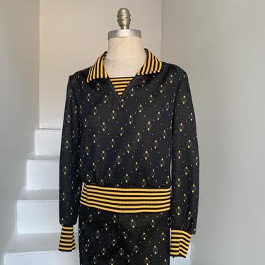 1970s Black and Yellow Cropped Top Pantsuit; Argyle pattern; 1970s vintage; 36bust by AmalgamatedShop
