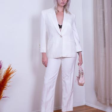 1980s White Linen Two Piece Suit with Gold Trimmed Buttons S Minimal Pants Structured Blazer by backroomclothing