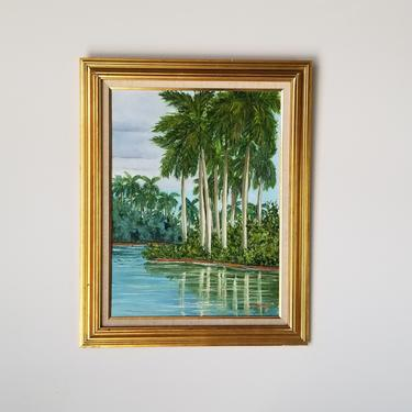 """1980s """"Palms Reflexion"""" Tropical Landscape Painting by Norma Carlson, Framed by MIAMIVINTAGEDECOR"""