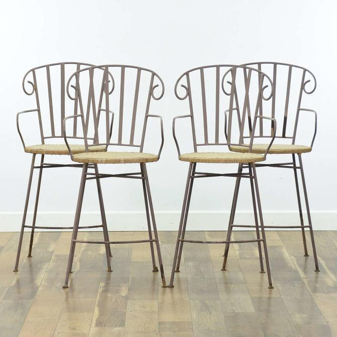 Set Of 4 Metal Frame Bar Stools W Woven Seats