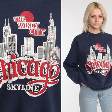 80s Chicago Sweatshirt -- 1980s Crewneck Sweatshirt Cityscape Graphic Sweater Shirt Slouchy 1980s Travel Navy Blue Pullover Medium by ShopExile