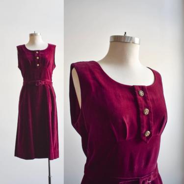 1960s Burgundy Velvet Cocktail Dress by milkandice