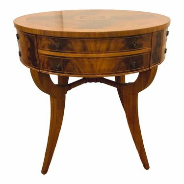 Antique Birds Eye Maple and and Mahogany Drum Table