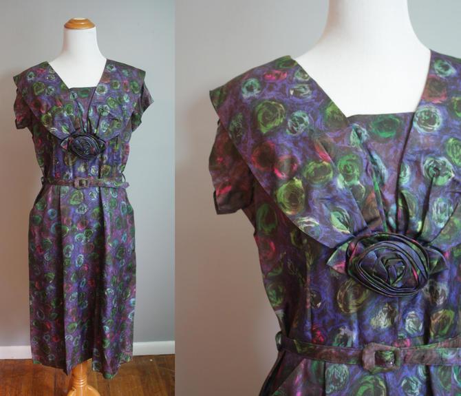 1950s Dress // Dark Rosettes // Medium by LawrenceOfBaltimore