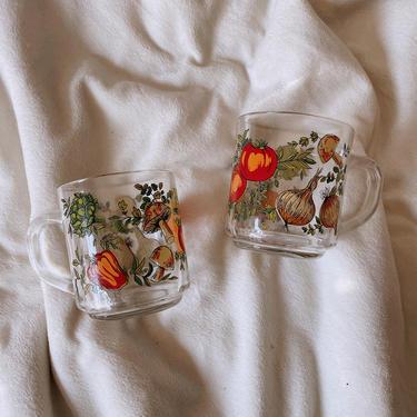 Arcoroc France Glass Coffee Mugs Vegetable Print | Vintage Glass Coffee Mug | Set of 2 | Tomato Mushroom Pepper Pattern | Vintage Coffee Cup by BrassBluebonnets