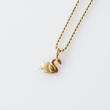 Vintage 10k Gold Swan Charm on Chain | 10 Karat Gold Bird Charm Necklace by wemcgee