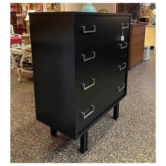 """cute Black matte painted mid-century modern 4 drawer / chrome hardware/ chest 36"""" wide / 17.5"""" deep / 45.5"""" tall"""