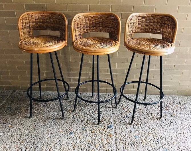 Vintage set of three rattan bar stools by UrbanInteriorsBalt