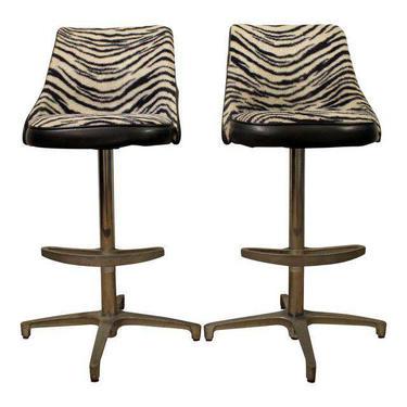 Mid Century Bar Stools Danish Modern Chromcraft Zebra Print Swivel Bar Stools #1 by AnnexMarketplace