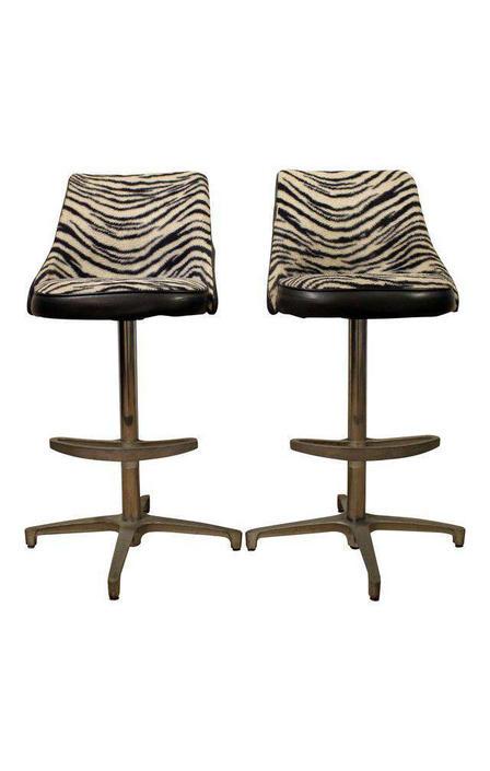 Tremendous Mid Century Bar Stools Danish Modern Chromcraft Zebra Print Inzonedesignstudio Interior Chair Design Inzonedesignstudiocom