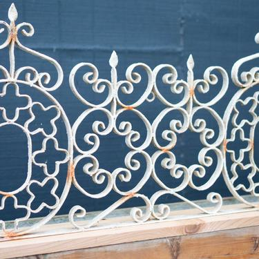 ANTIQUE ARCHITECTURAL METAL Work - French Farmhouse Shabby Chic Iron Vintage - Great for Headboard -Gate Topper - by CovetModernDesign