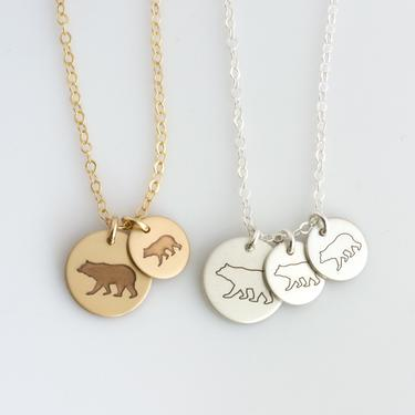 Mother's Day Personalized Gift/MAMA Bear/Mother Child Necklace/Engraved Mom Necklace/Family Necklace/Mom Necklace/New Mom Gift/Silver/Gold by LEILAjewelryshop