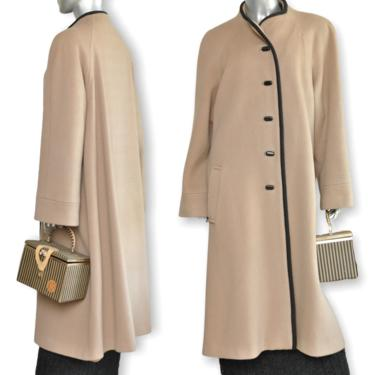 Vintage 70's Womens Beige Wool Swing Coat with Black Dress Size Large by TheUnapologeticSoul