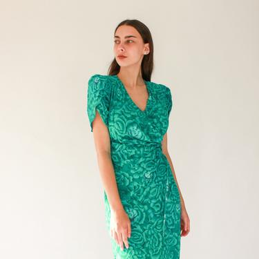 Vintage 70s Visionz California Green Floral Wrap Dress | Broad Poof Shoulder, Plunging Neckline | 1970s Romantic Date Night Wrap Dress by TheVault1969