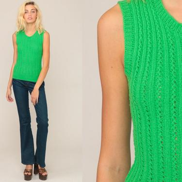 Sweater Vest Top Knit Tank Top SHEER Shirt Neon Green Sleeveless Nerd 70s Boho Hippie Top Bohemian Freaks and Geeks Vintage Extra Small xs by ShopExile