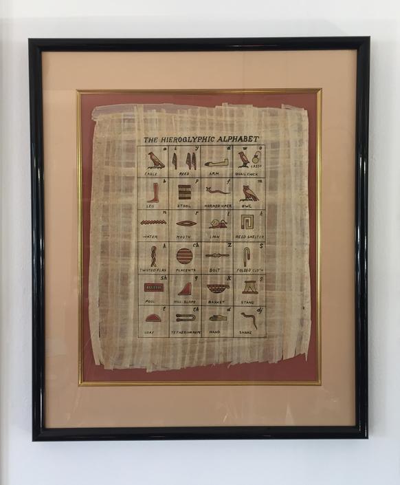 Framed Egyptian Hieroglyphics Alphabet on Papyrus Paper by ModandOzzie