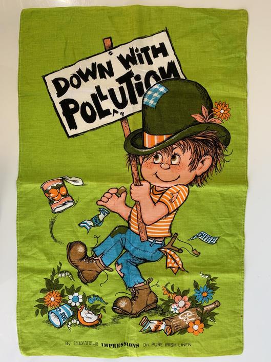 Vintage Down with Pollution Adorable Tea Towel Flowers 100% Irish All Linen Kitchen Big Eye Mid-Century Retro Kitch Kawaii Hippie Boho Earth by CheckEngineVintage