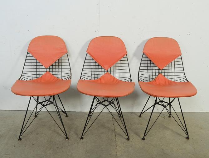 Eames DKR Chairs Eiffel tower base Herman Miller 1960 Set of Three Vintage Orange Bikini Seat Covers Mid Century Modern by HearthsideHome