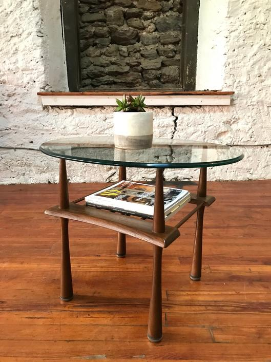 Mid century end table danish modern glass top end table mid century side table by VintaDelphia