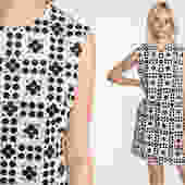 60s Mod Dress Black White Op Art Geometric Dress Pocket Psychedelic Shift Mini 1960s Sixties Twiggy 70s Vintage Sleeveless Medium by ShopExile