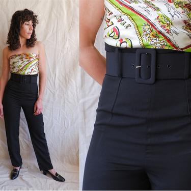 Vintage 90s Does 40s Ribcage Belted Trousers/ 1990s Super High Rise Black Pants with Wide Waist Belt/ Size Small 26 by bottleofbread