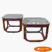 Pair of Brown Jordan Rattan Square Side Tables