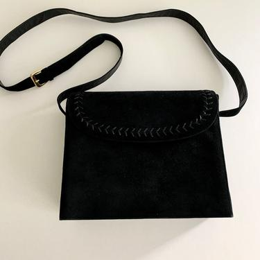 Bally black suede front/leather back crossbody bag with lacing detail by MartinMercantile