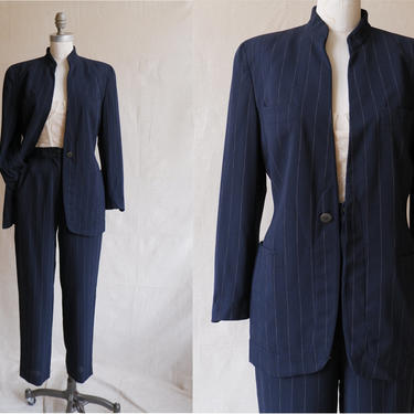 Vintage 90s Armani Pinstripe Pantsuit/ 1990s Black Striped Blazer and Trousers/ Size Small Medium 28 by bottleofbread