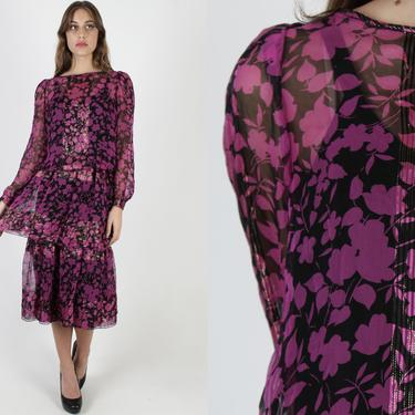 Pink Silk Dress / Vintage 80s Silk Saks 5th Ave Dress / Black Chiffon Cocktail Party Dress / Metallic Gold Magenta Tiered Maxi Dress by americanarchive