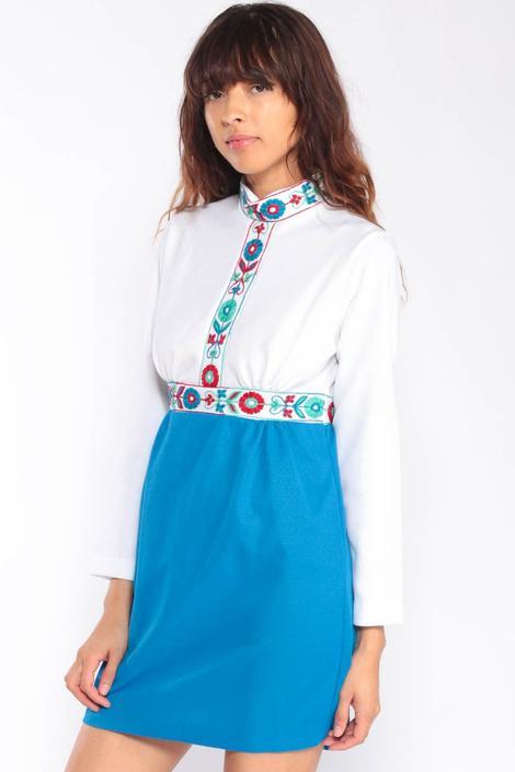 7bc2268b47 Babydoll Dress 70s Mini FLORAL EMBROIDERED Boho Mod White Blue 1970s Bohemian  Hippie Dress Long Sleeve