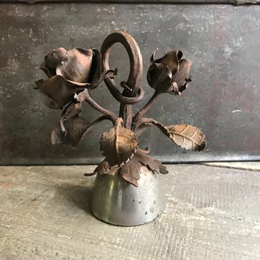 Rustic French Bell, Large, Dinner, Shop, Chrome, Iron Roses, French Farmhouse by JansVintageStuff