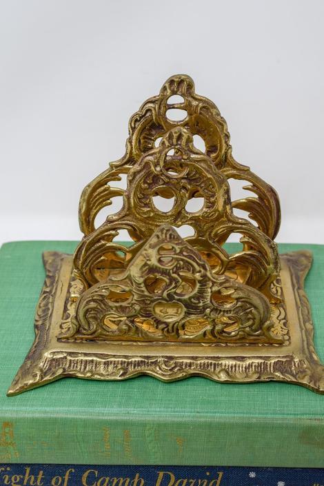 Vintage Brass Napkin Holder/Mail Sorter by CapitolVintageCharm