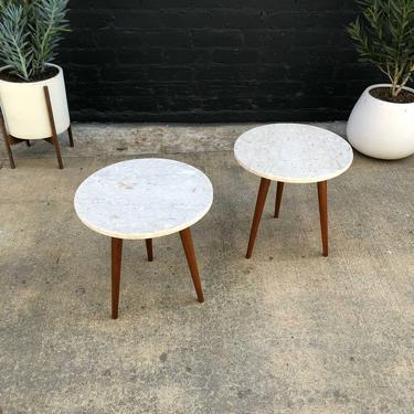 Mid-Century Modern Tripod Teak & Marble Stone Top Side Tables by VintageSupplyLA