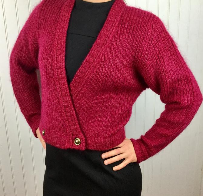 Vintage 80s Cropped Deep V Cardigan Sweater Fuchsia Pink Sweater Shoulder Pads Retro 80s Womens Sweater Size Small by AuntyEntitysVintage