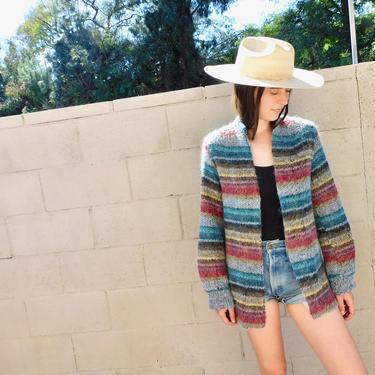 Rainbow Cardigan Sweater // vintage 70s knit hippie dress blouse hippy 1970s // S/M by FenixVintage
