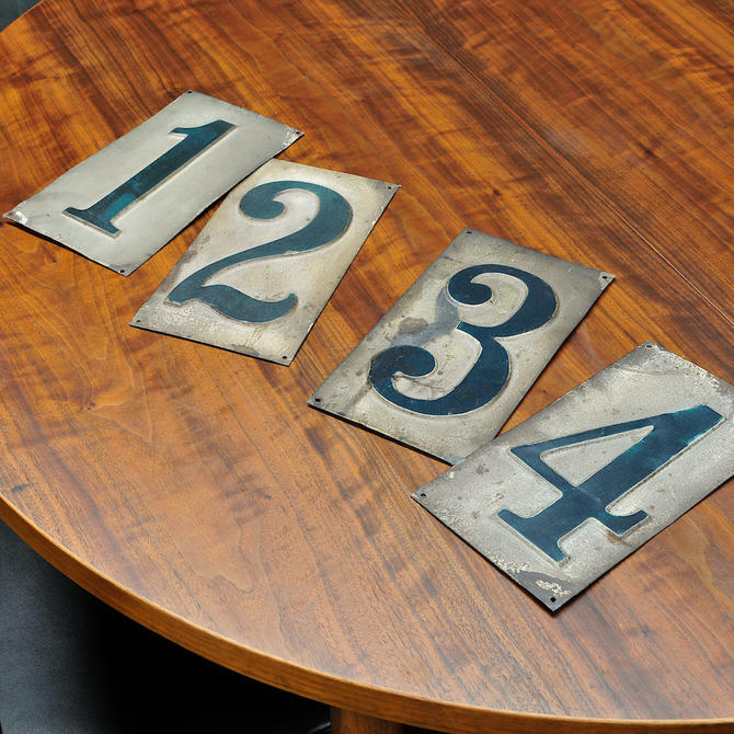 Antique Tin Painted Bowling Alley Lane Numbers Metal Vintage Industrial Early Century by BrainWashington