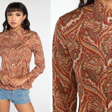 70s Paisley Shirt Dagger Collar Blouse Orange Print Blouse Boho Top Hippie 1970s Vintage Bohemian Button Up Psychedelic Long Sleeve Medium by ShopExile