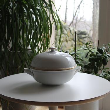 Dansk Monogram Gold Band Ceramic Food Server / Bowl with Lid Mid Century Modern Scandinavian Denmark Finland Luxury Modernist Design Bauhaus by FancyHaus