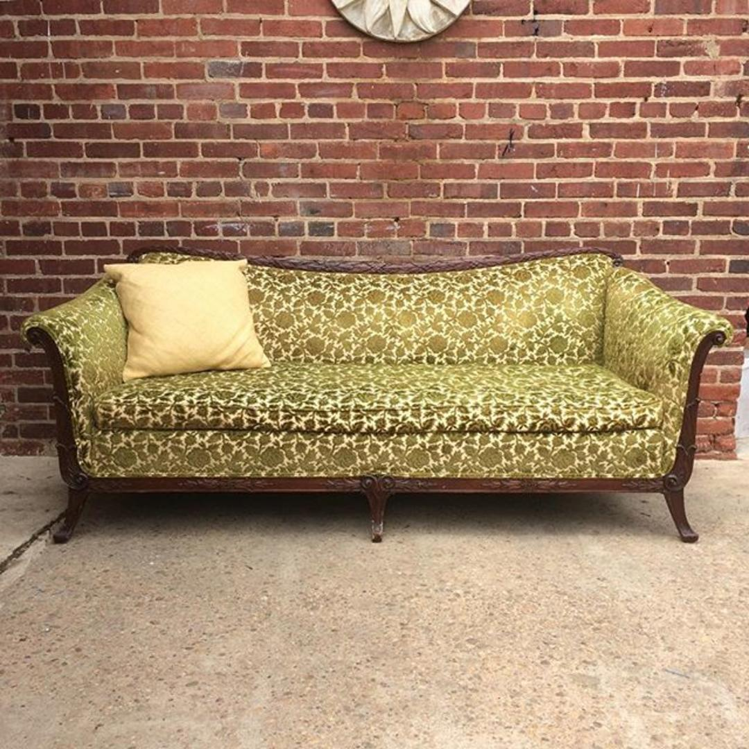1940s french provincial style sofa in retro velvet from off the beaten track warehouse attic. Black Bedroom Furniture Sets. Home Design Ideas