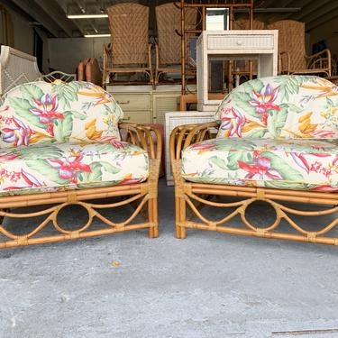 Pair of Rattan Island Chic Lounge Chairs and Ottoman